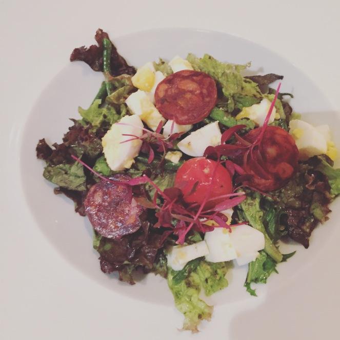 Green bean and chorizo salad at Echaude
